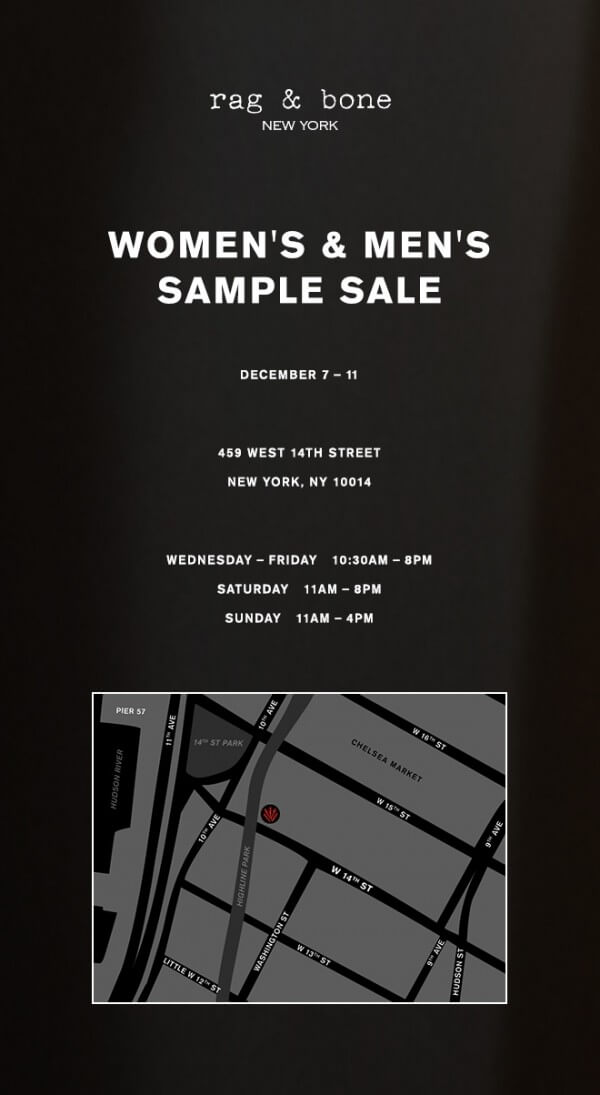 The rag & bone sample sale is coming back racked ny.