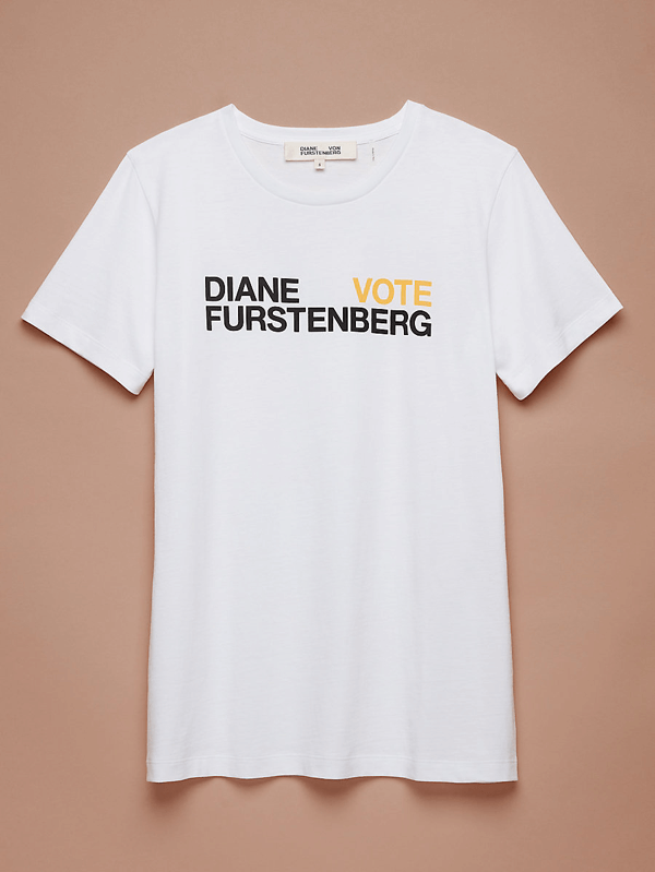 6b9db7032ab DVF s limited edition VOTE tee encourages women to make their voices heard  this November. DVF will be making donations to ACLU. This Tory Burch ...